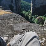 Climbing rocks in Meteora